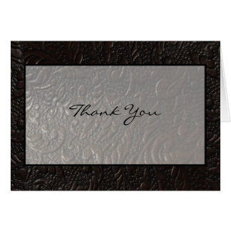 Leather Paisley Thank You Card