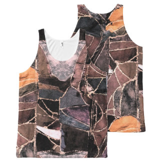 Leather patchwork print design All-Over print singlet