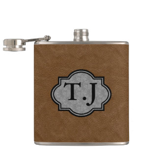 LEATHER PRINT FINISH MONOGRAMMED HIP FLASK
