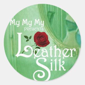 Leather Silk Cover Classic Round Sticker
