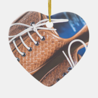Leather Snakeskin Brown shoes Ceramic Heart Decoration