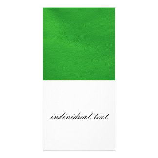 leather structure,green customized photo card