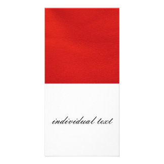 leather structure,red photo greeting card