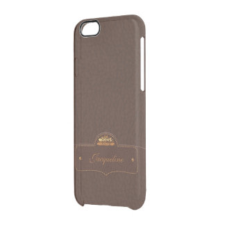 Leather Style Luxury Name Uncommon Clearly™ Deflector iPhone 6 Case