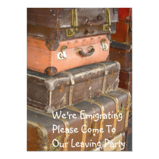 Leather Suitcases Emigrating Party Invitation