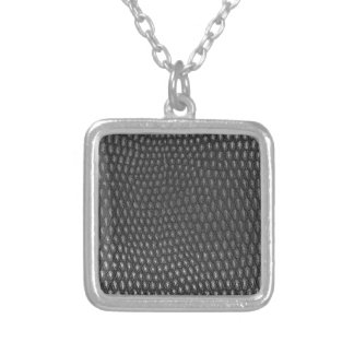 Leather texture closeup silver plated necklace