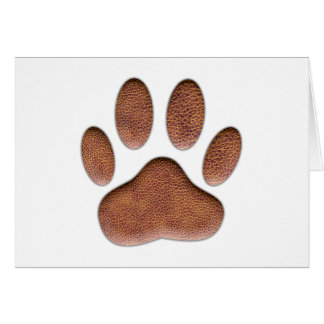 Leather Texture Dog Paw Print Card