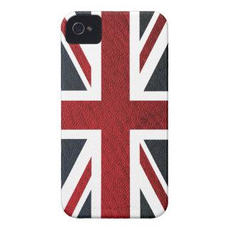 Leather Texture Pattern Union Jack British(UK) Fla iPhone 4 Case-Mate Case