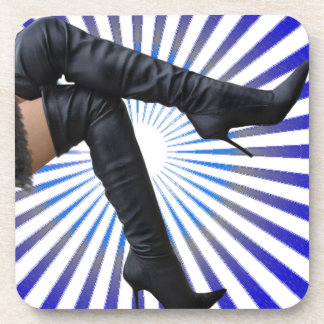 Leather Thigh High Boot Art (blue star burst) Drink Coaster