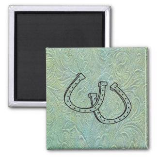 Leather Tool Print Design Horseshoes Fridge Magnet