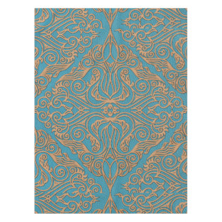 Leather Tooled Oriental Pattern on Teal Tablecloth