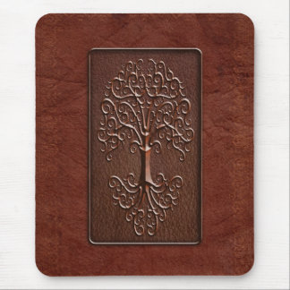 Leather Tree Design Mouse Pad