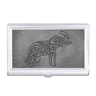 Leather Tribal Elephant Business Card Holder