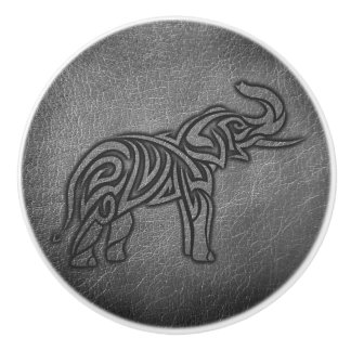 Leather Tribal Elephant Ceramic Knob
