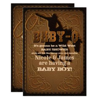 Leather Western Wild West Cowboy BABY-Q SHOWER BBQ Card