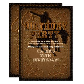 Leather Western Wild West Cowboy Birthday Party Card