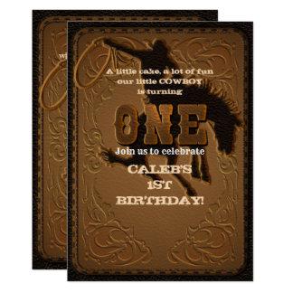 Leather Western Wild West Cowboy ONE 1ST Birthday Card