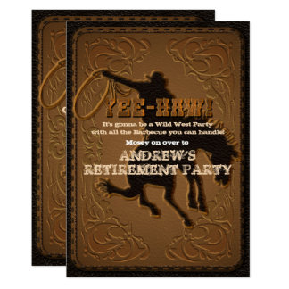 Leather Western Wild West Cowboy Retirement Party Card