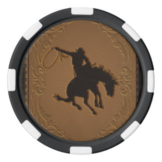 Leather Western Wild West Cowboy Rustic Country Poker Chips