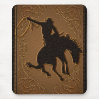 Leather Western Wild West Rustic Country Cowboy Mouse Pad
