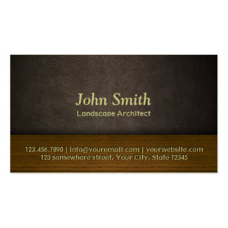 Leather & Wood Landscape Architect Business Card