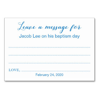 Leave A Message Baptism Christening Cards Blue