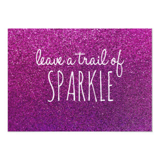 Leave a trail of sparkle quote purple glitter card