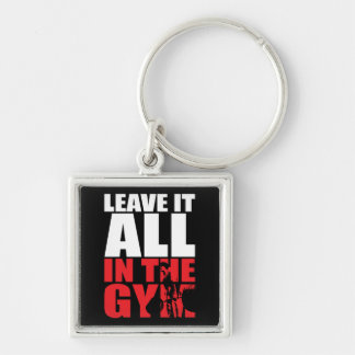 Leave It All In The Gym - Deadlift Workout Silver-Colored Square Key Ring