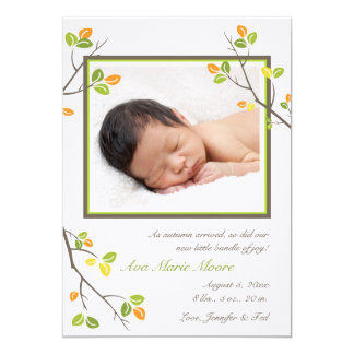 "Leaves and Branches Birth Announcement 5"" X 7"" Invitation Card"