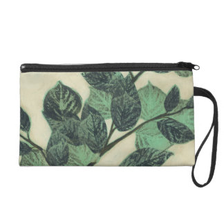 Leaves and Branches on Cream Background Wristlet Purses