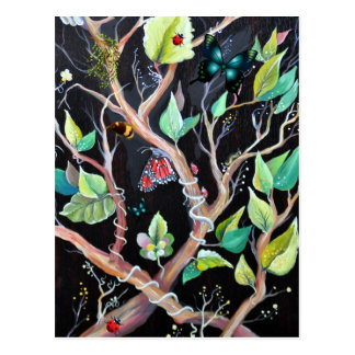 Leaves and Butterflies Illustration Postcard