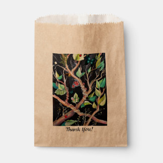 Leaves and butterflies painting favour bag