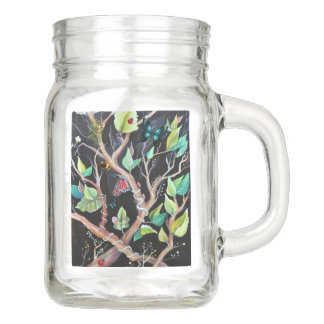Leaves and butterflies painting mason jar