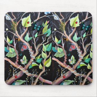 Leaves and butterflies painting mouse pad