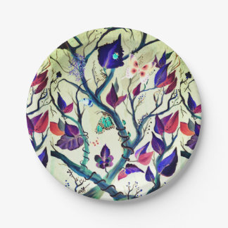 Leaves and butterflies painting paper plate