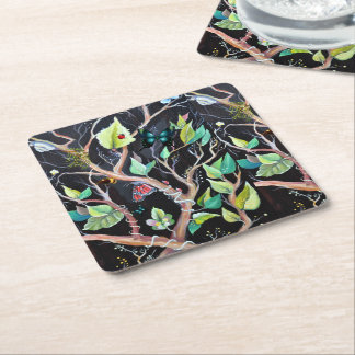 Leaves and butterflies painting square paper coaster