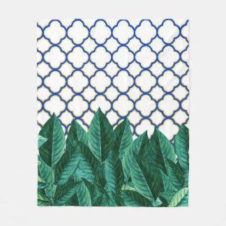 Leaves and Tiles Fleece Blanket