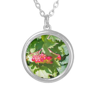 Leaves and unripe berries guelder viburnum opulus silver plated necklace