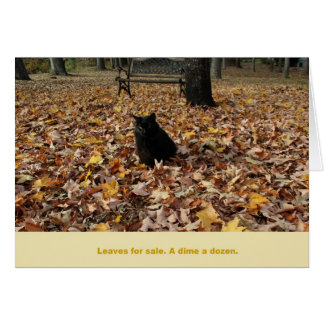 Leaves for Sale by Guiness the Cat Note Card