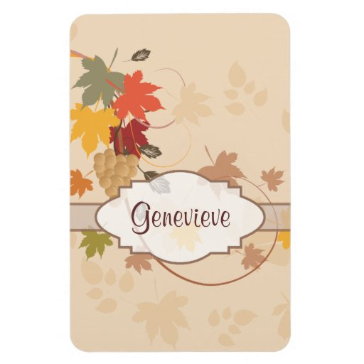 Leaves, Grapes and Ribbons - Customizable Magnet