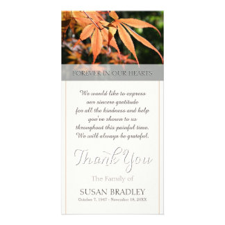 Leaves in Autumn Sympathy Thank You photo card
