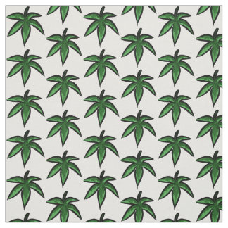 Leaves in greens in a pattern on white background fabric