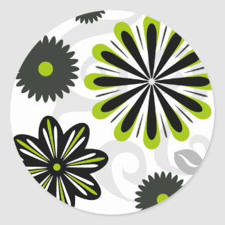 Leaves in the Wind Green Round Sticker