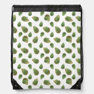 Leaves Motif Nature Pattern Drawstring Bag