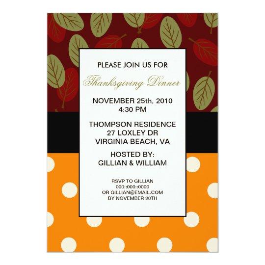 Leaves n Dots Thanksgiving Dinner Invitation