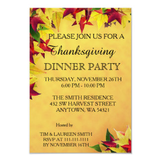 Leaves of Autumn Thanksgiving Dinner Party 9 Cm X 13 Cm Invitation Card