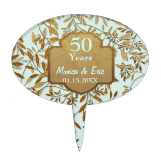 Leaves of Gold 50th Wedding Anniversary Cake Picks