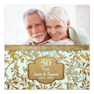 Leaves of Gold 50th Wedding Anniversary 13 Cm X 13 Cm Square Invitation Card