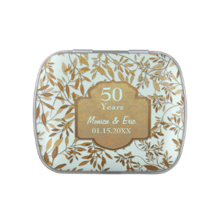 Leaves of Gold 50th Wedding Anniversary Jelly Belly Candy Tins