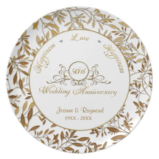 Leaves of Gold 50th Wedding Anniversary Plate